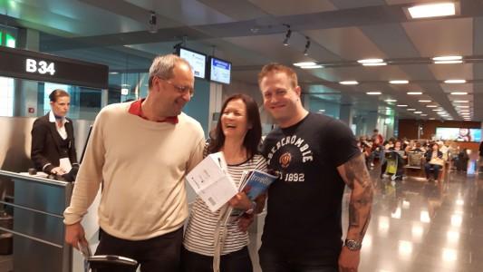 Peter, Corinne, Patrick am Flughafen Zürich