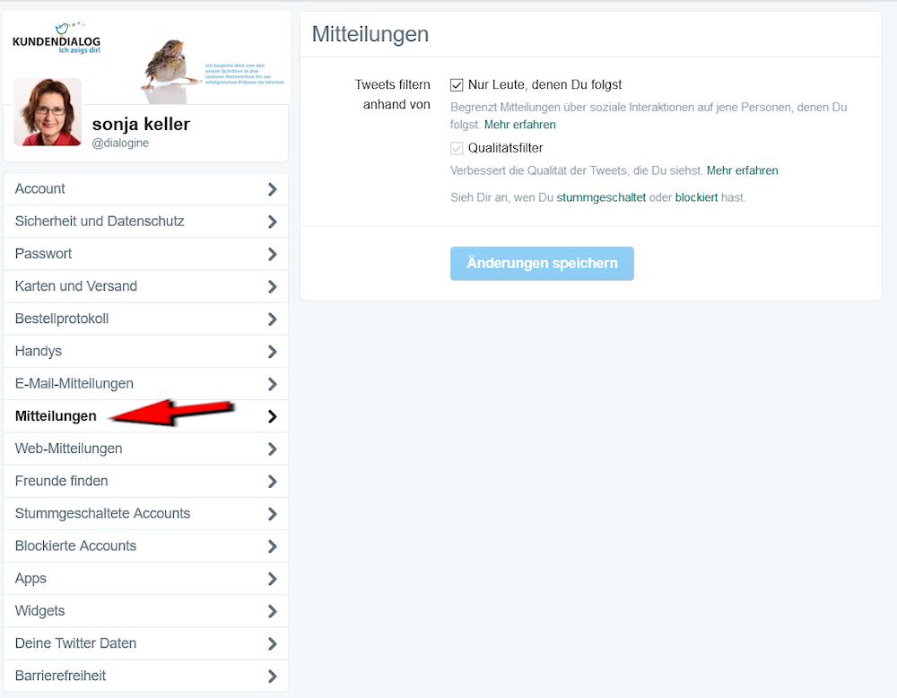 Timeline-Filter auf Twitter einrichten