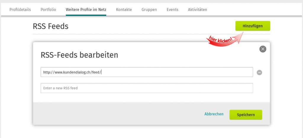 RSS-Feed in XING-Profil
